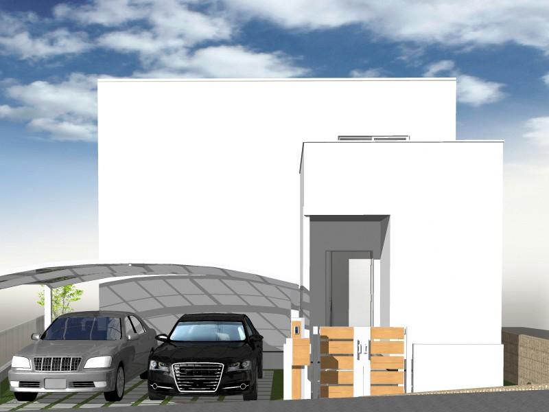 参考建物パース 天然素材の塗り壁を基調としたキューブ型のモダン設計