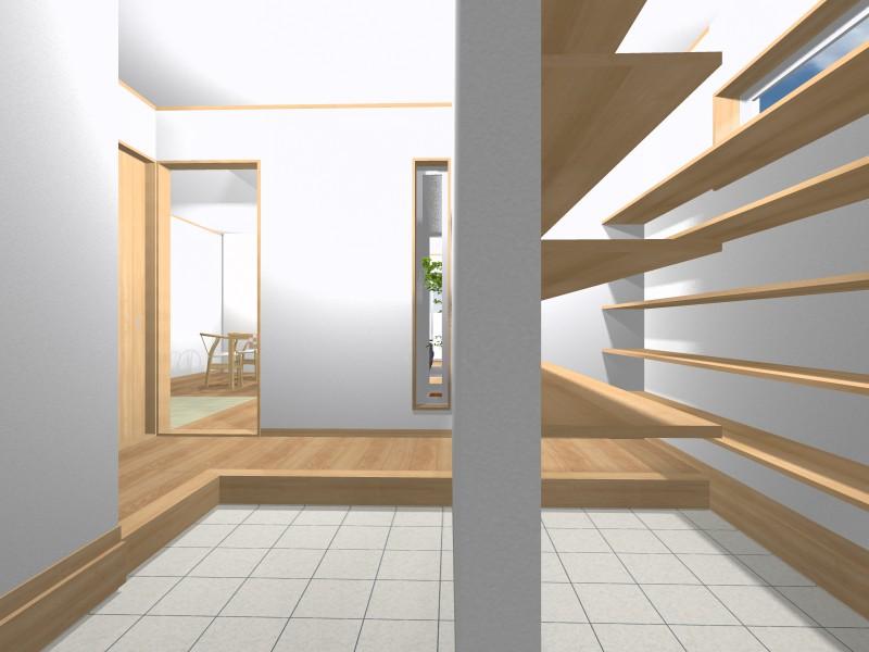 室内パース:エントランス・・・来客用エントランスとファミリーエントランスを創りました。毎日すっきりとしたエントランスとなります。