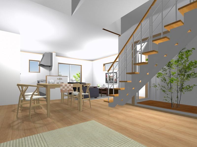 室内パース:中庭を設け採光を確保しつつ、目隠し壁を設け、プライベート性を重視。