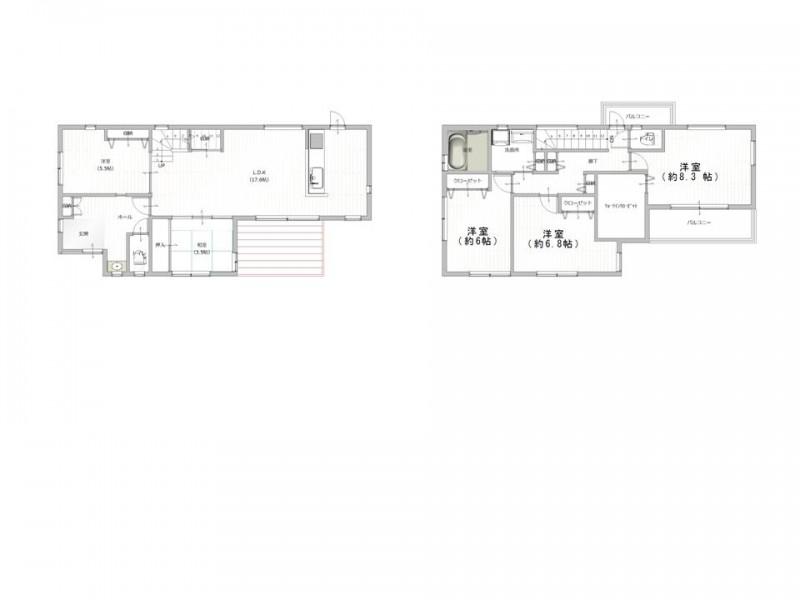 間取図 「宝塚市雲雀丘1丁目」築浅物件 眺望を楽しむ家