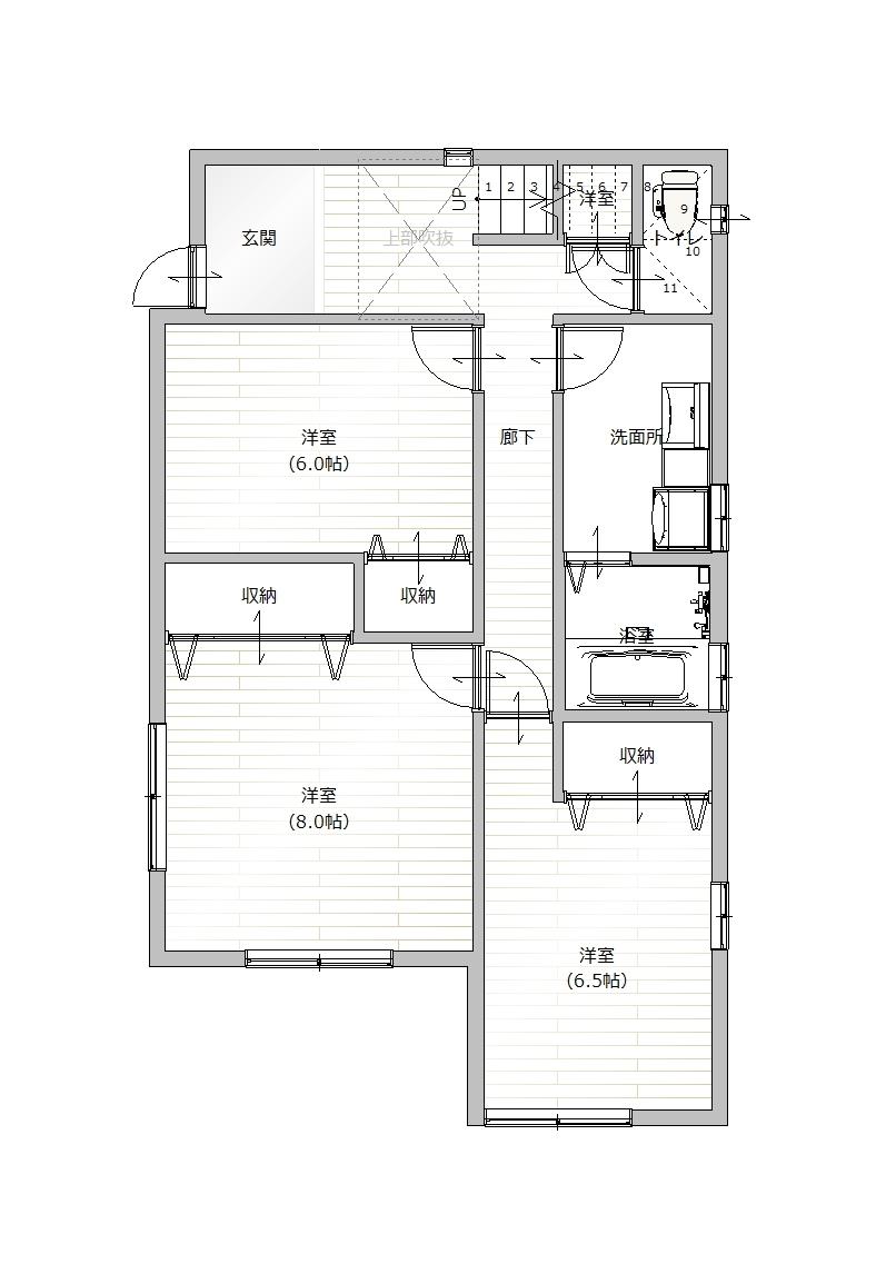 武庫山1丁目 1階間取り図