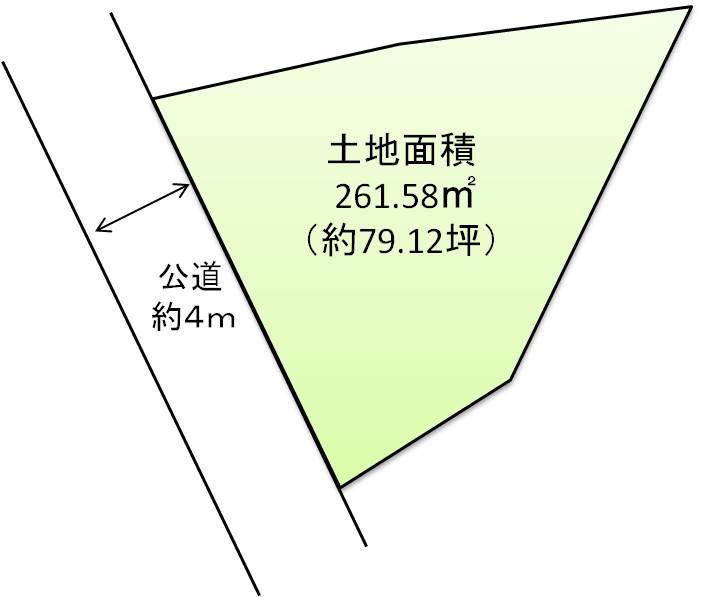 【区画図】土地価格2660万円、土地面積261.58㎡ 約79坪の建築条件なし土地
