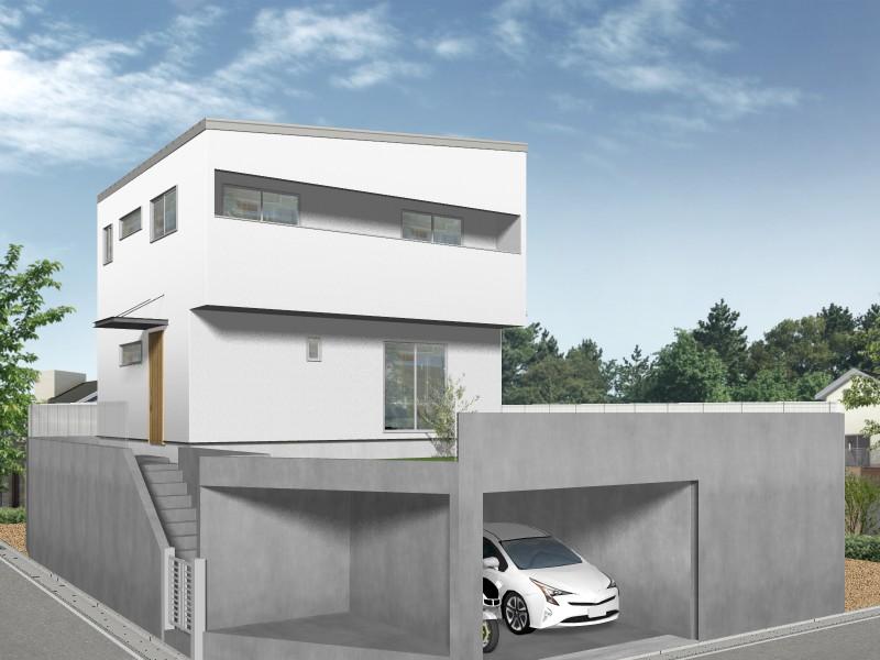 【外観プラン例】土地価格2200万円、土地面積157.53㎡ 建築家と打合せを重ね、こだわりの建物を建築して頂けます。