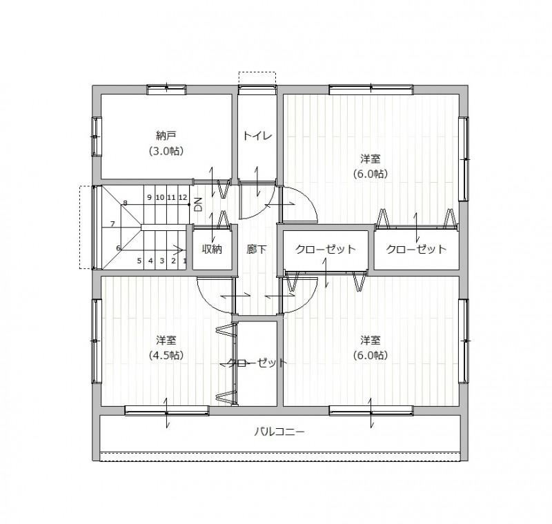 【2F間取り図プラン例】土地価格2200万円、土地面積157.53㎡ 建築家と打合せを重ね、こだわりの建物を建築して頂けます。