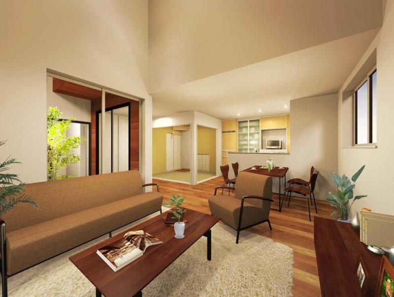 【リビング内観プラン例】お客様のご要望に沿って、建築家とプランを作成して頂けます。