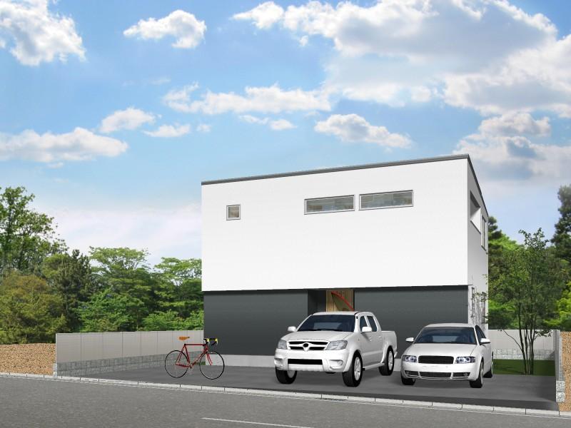 【外観プラン例】土地価格1650万円、土地面積164.58㎡ 建築家と打合せを重ね、こだわりの建物を建築して頂けます。