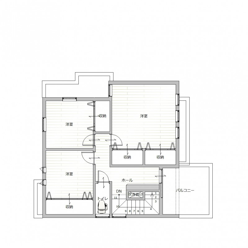 【2F間取り図プラン例】お客様のご要望に沿って、建築家とプランを作成して頂けます。