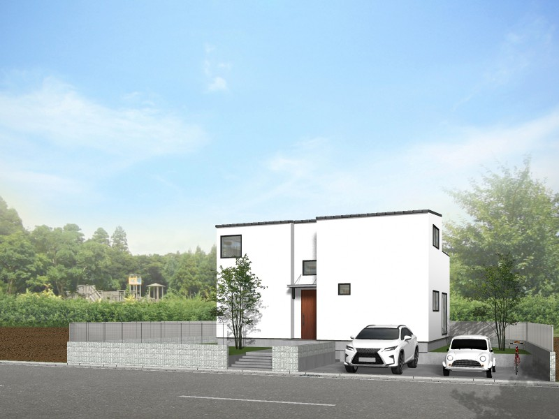 【外観プラン例】土地価格2660万円、土地面積261.58㎡ 建築家と打合せを重ね、こだわりの建物を建築して頂けます。