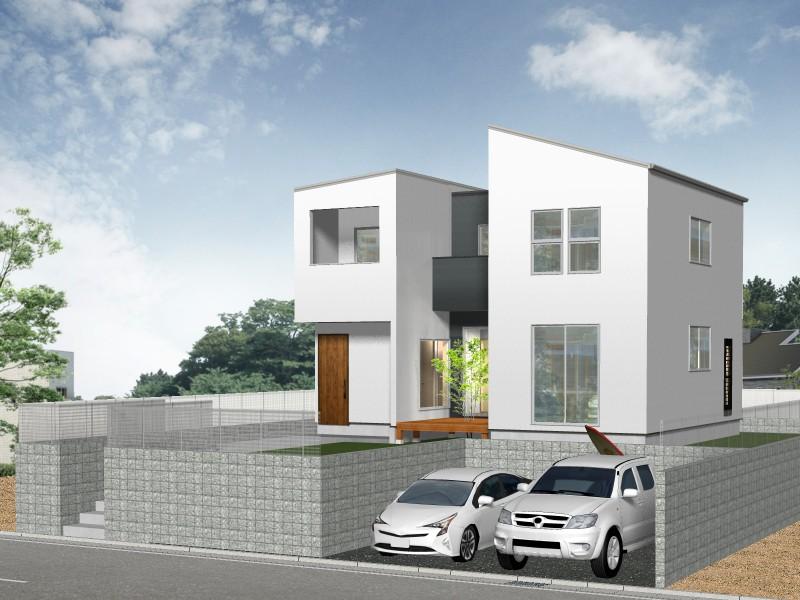 【外観プラン例】土地価格1850万円、土地面積231.11㎡ 建築家と打合せを重ね、こだわりの建物を建築して頂けます。