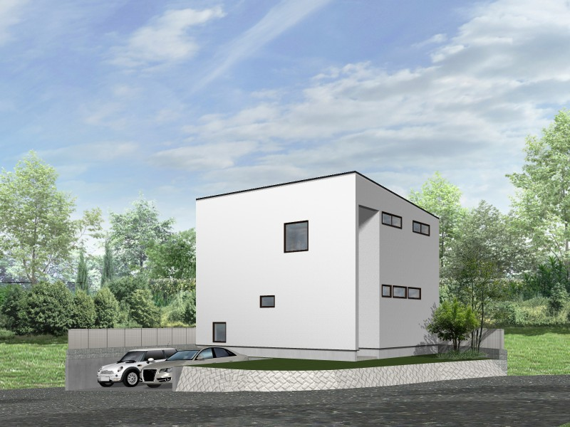 【外観プラン例】土地価格1800万円、土地面積216.39㎡ 建築家と打合せを重ね、こだわりの建物を建築して頂けます。