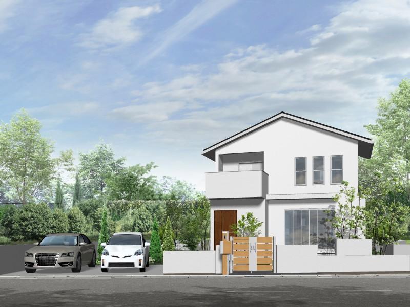【外観プラン例】土地価格2660万円、土地面積330.56㎡ 建築家と打合せを重ね、こだわりの建物を建築して頂けます。