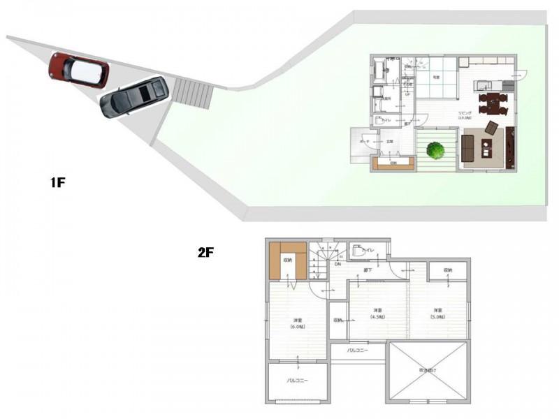 【間取り図プラン例】お客様のご要望に沿って、建築家とプランを作成して頂けます。