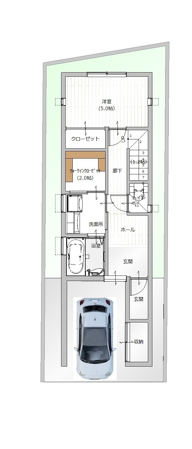 【1F間取り図プラン例】お客様のご要望に沿って、建築家とプランを作成して頂けます。
