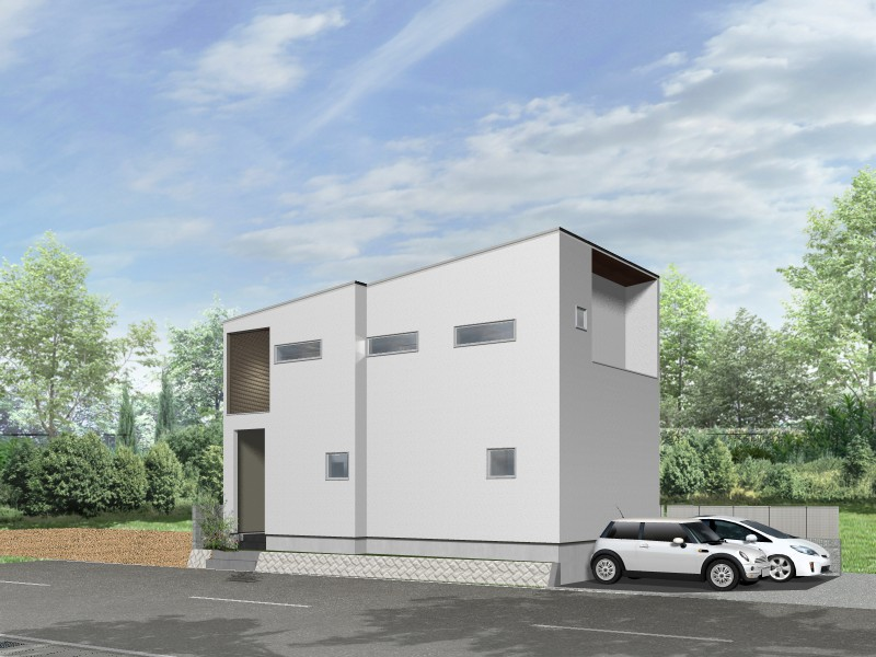 【外観プラン例】土地価格2480万円、土地面積103.37㎡ 建築家と打合せを重ね、こだわりの建物を建築して頂けます。