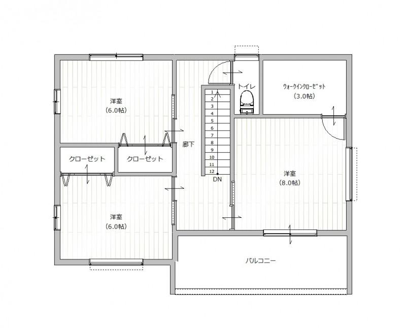 【2F間取りプラン例】土地価格1980万円、土地面積223.76㎡ 建築家と打合せを重ね、こだわりの建物を建築して頂けます。