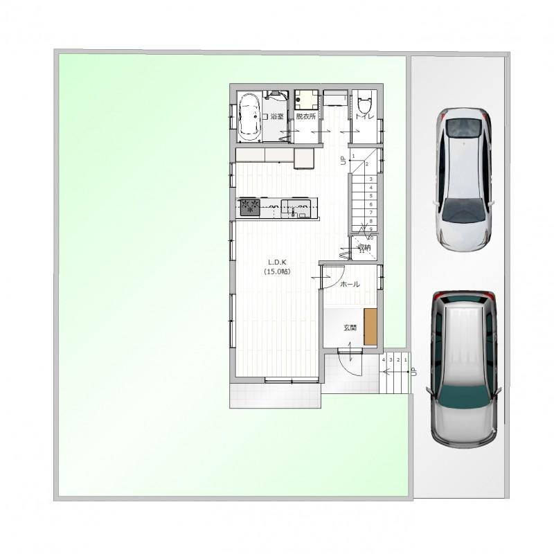 【1F間取り図】土地面積:194.28㎡、建物面積:81.14㎡、間取り:3LDK
