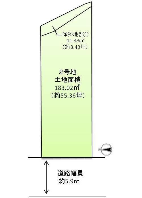 土地価格1880万円、土地面積194.43m2 ゆとりある敷地面積。 (※傾斜地11.41m2を含みます)